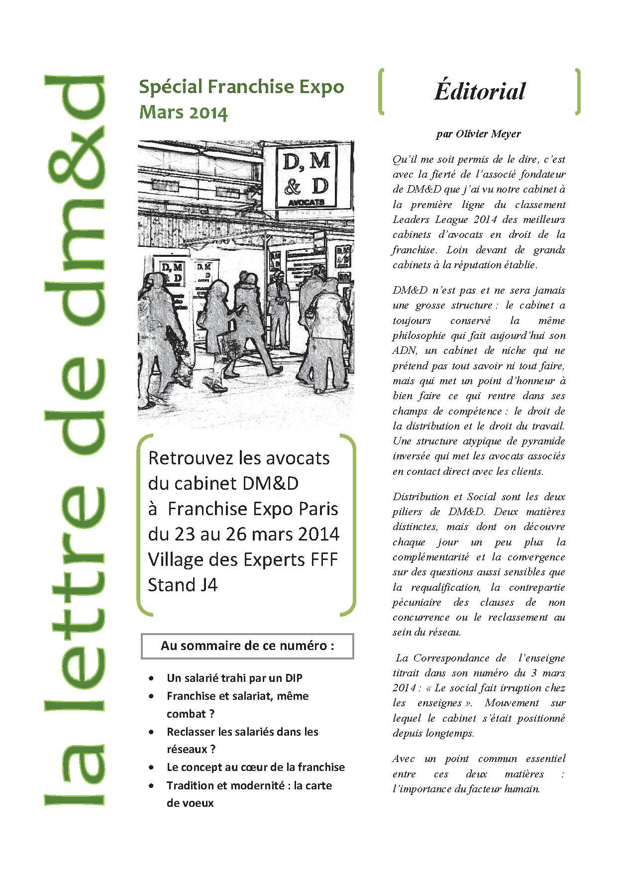 La lettre franchise expo 2014